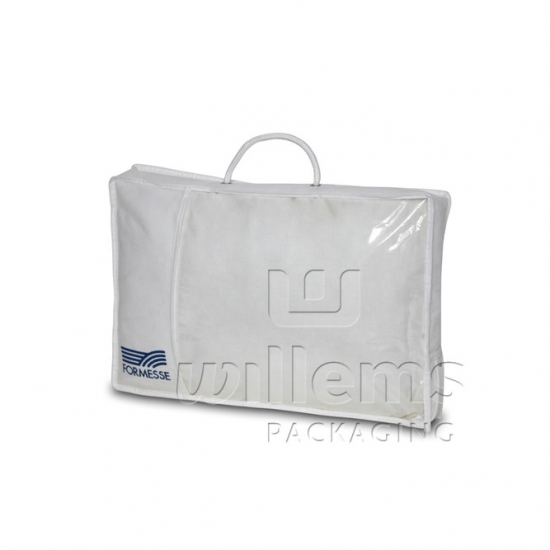 PP non woven carrying bag with sight window, cord and plastic zipper
