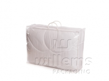 Transparent carrier bag with handle and piping for spill kit