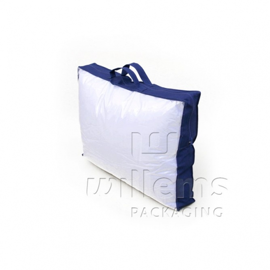 transparent pillow bag with blue PP non woven and zipper